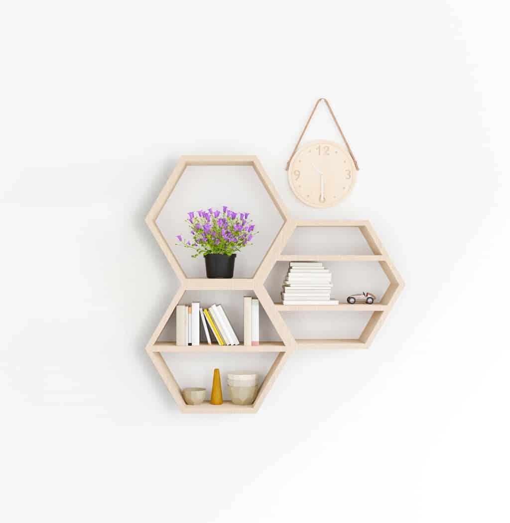 3 honeycomb shelves