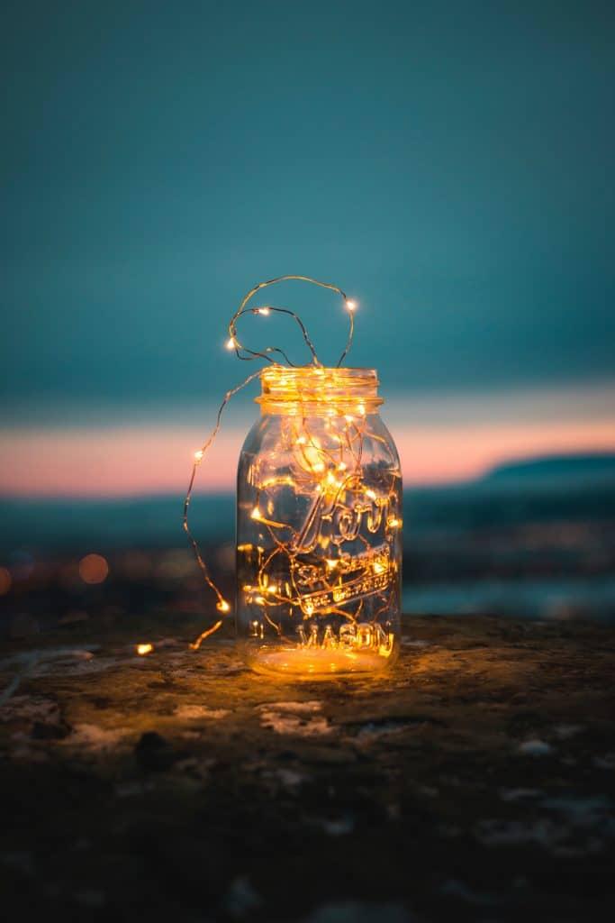 Fairy lights inside a mason jar