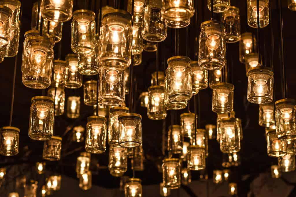 Sea of mason jar lights