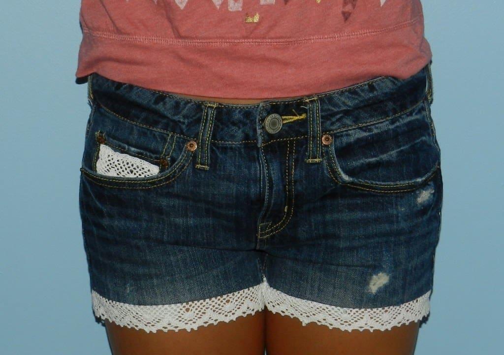 DIY laced shorts