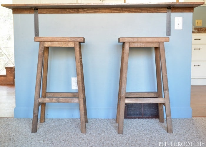 Wide wooden bar stool