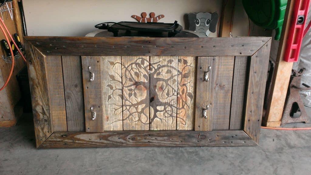 A reclaimed wood gun display rack