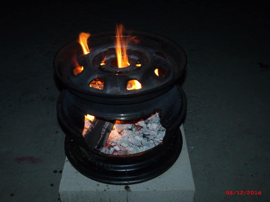 Car wheel fire pit