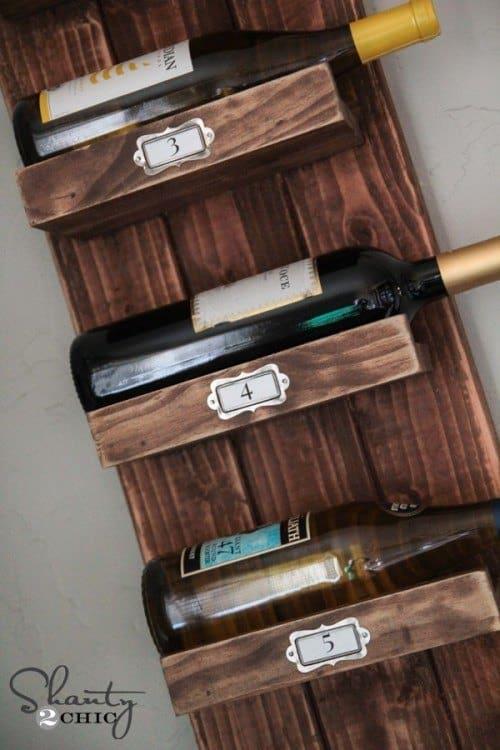 Rustic wooden wine rack