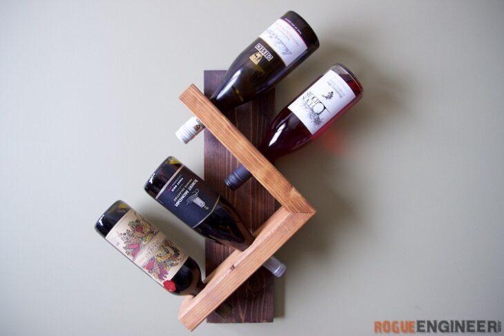 Arrow shaped wine rack