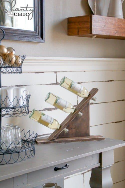 Abstract hanging bottle wine rack