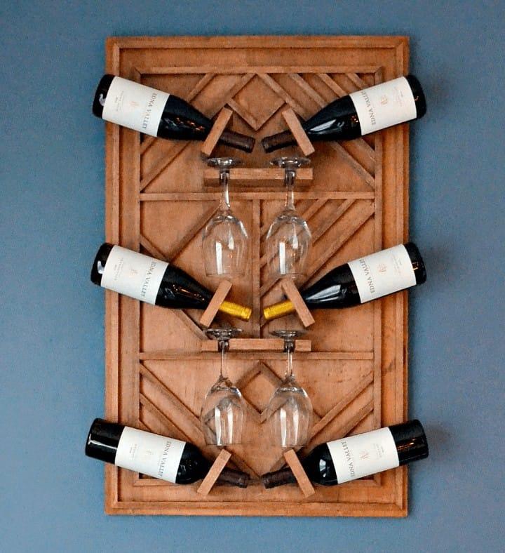 Wooden square wine rack