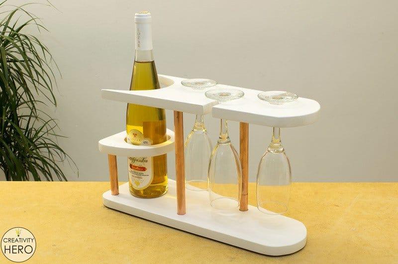Copper and white wine rack