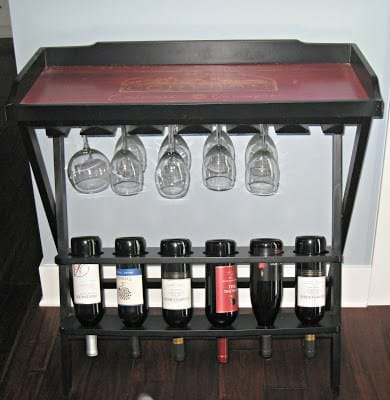 Wine rack table with glass holder