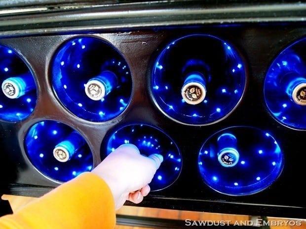 Lighted wine rack