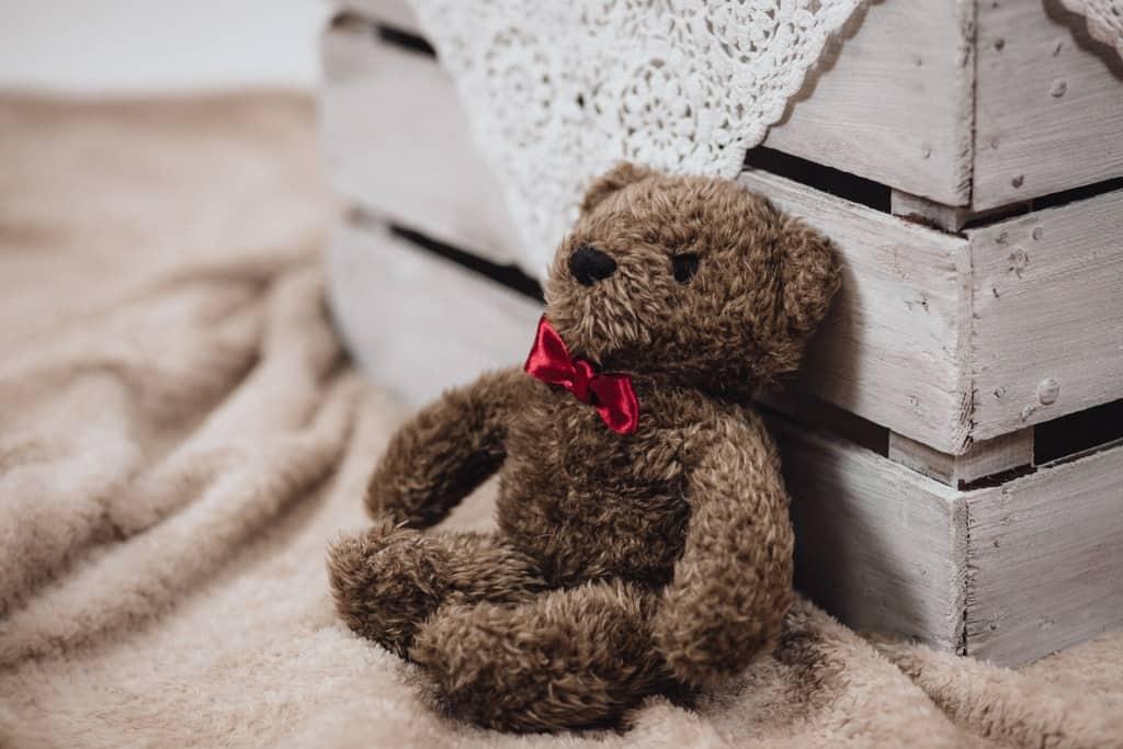 Teddy bear beside a pallet bed