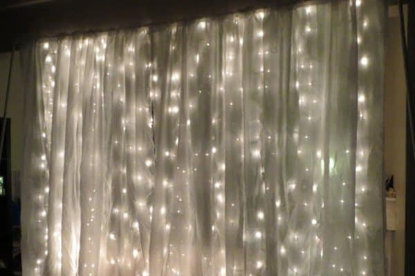 String lights and curtain backdrop