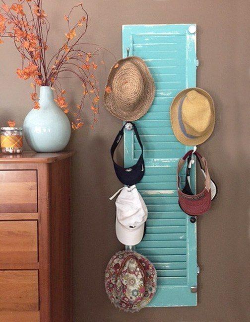Window shutter hat rack