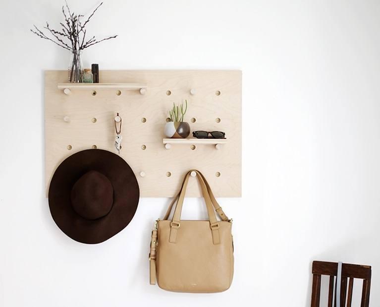 Wooden canvas hat rack
