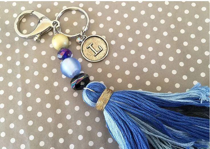 Blue tassel keychain