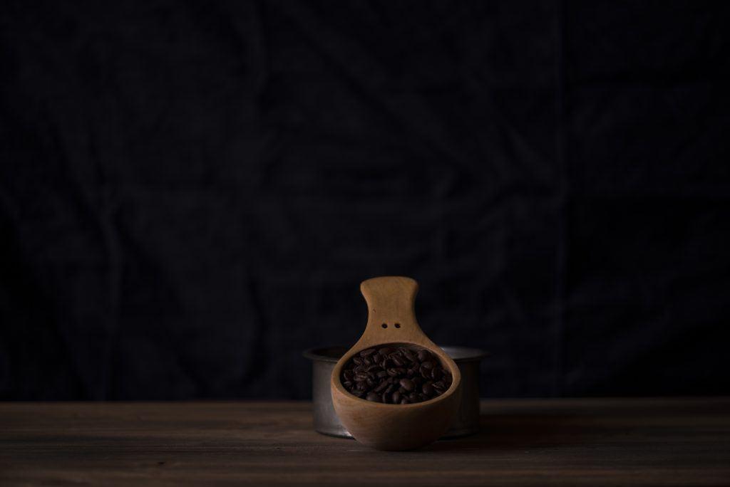 A wooden scoop