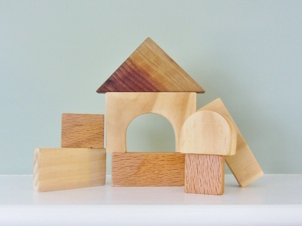Kids natural wood blocks