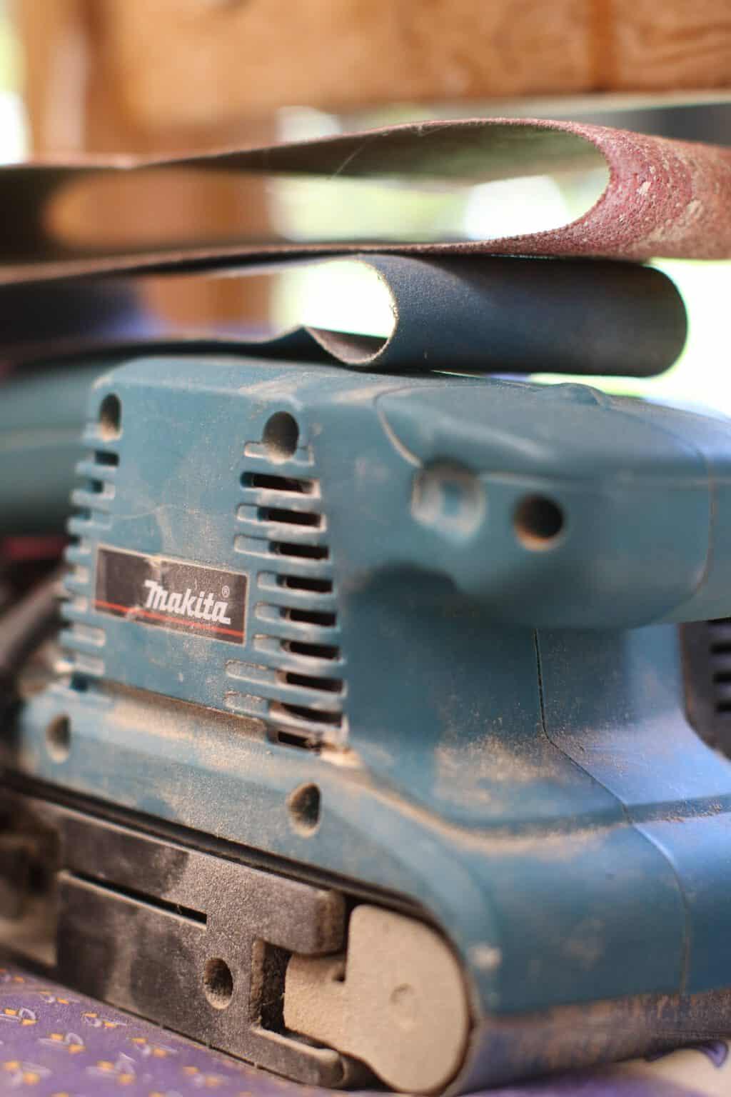 Close up of a blue makita sander