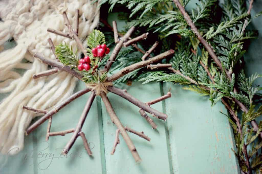 Stick wreath Christmas ornament