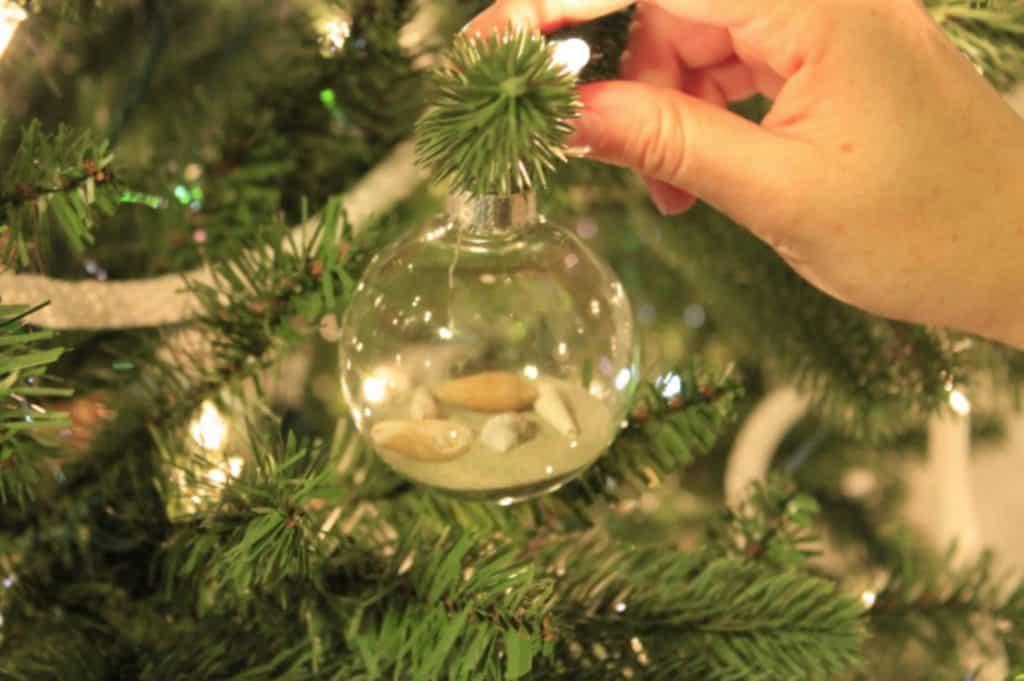 Beach glass ball Christmas ornament