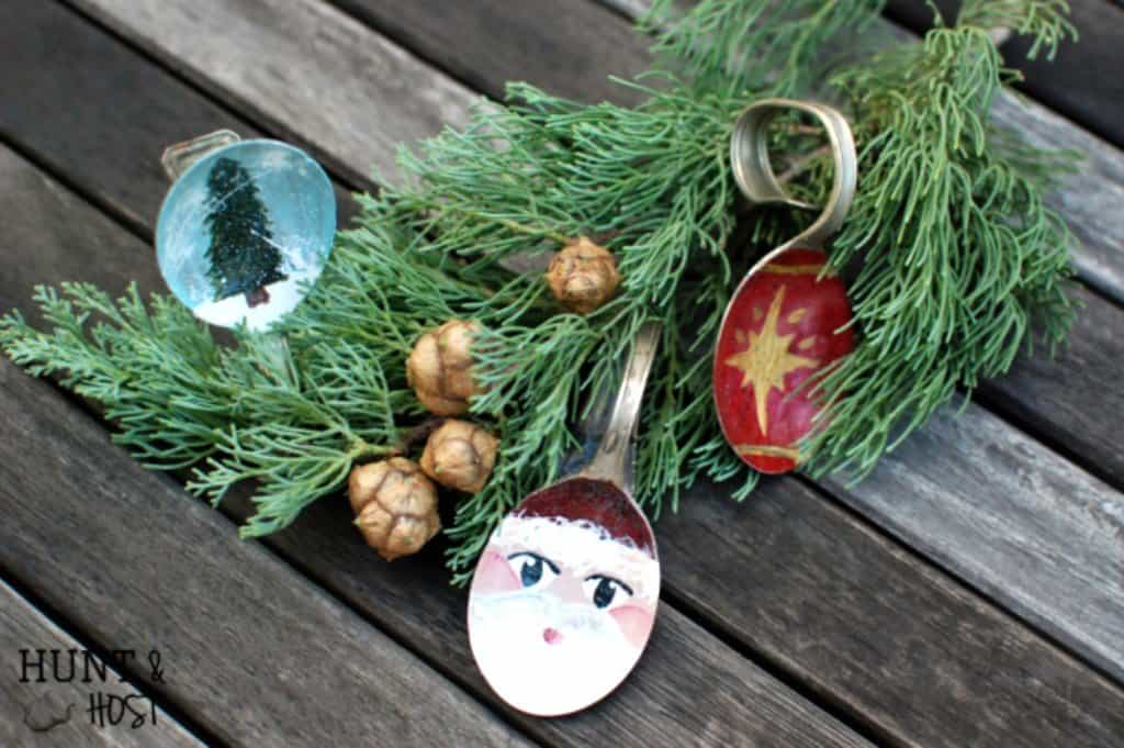 Hand painted spoon Christmas ornament