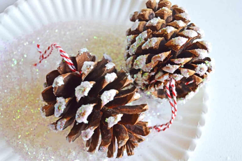 photo of diy glitter pine cone christmas ornaments