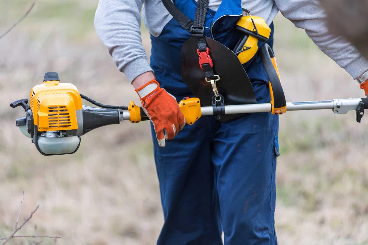 A man holding a gas powered pole saw