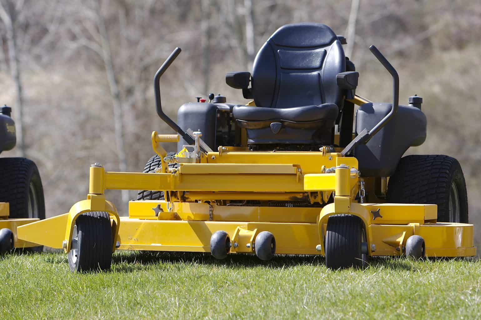 A zero turn mower parked outdoors