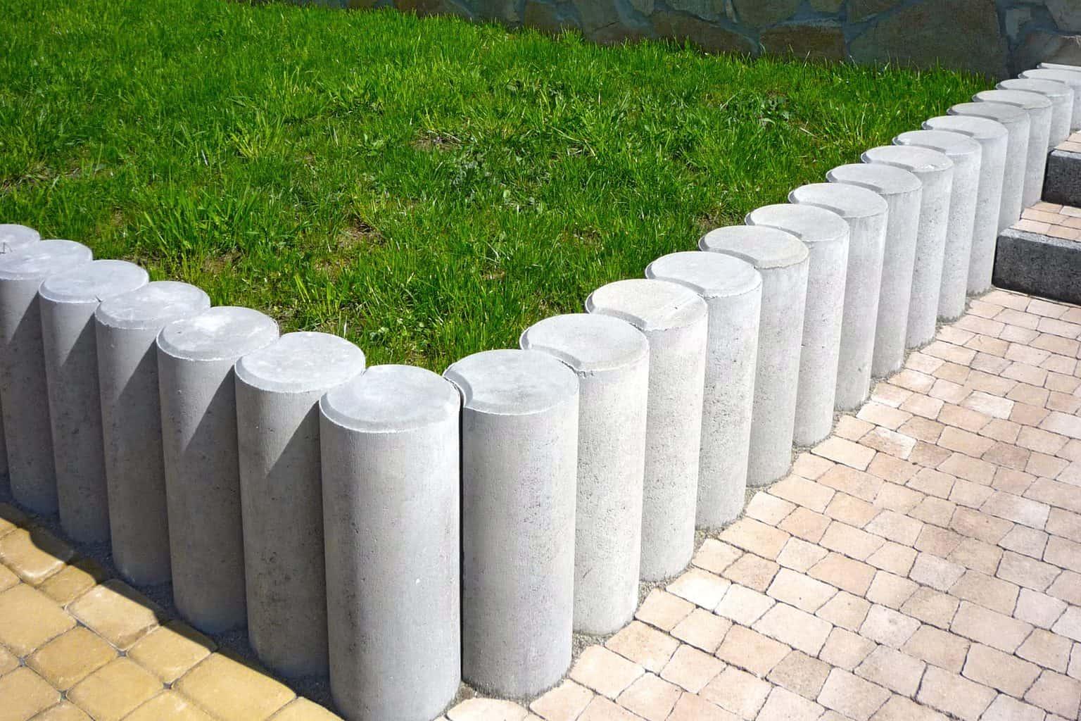 Landscape edging using concrete bollards