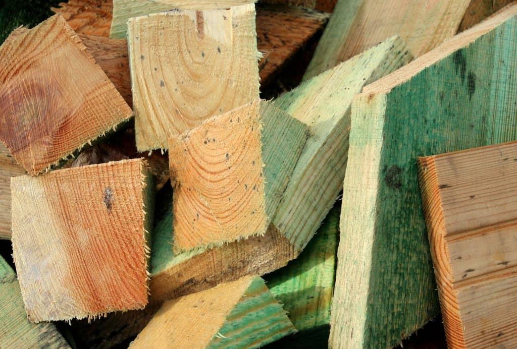 A pile of cut wood