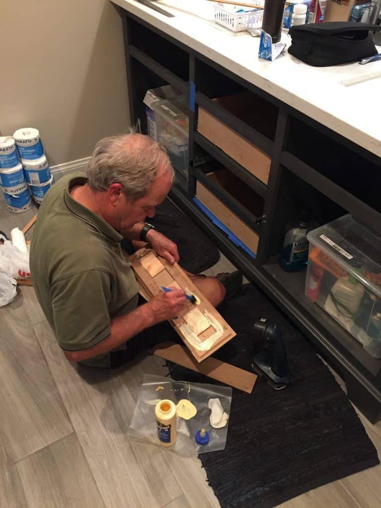 Man building a storage