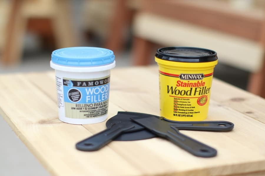 Minwax Stainable Wood Filler and Famowood Wood Filler on a table