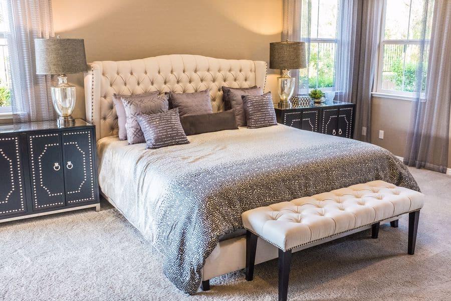 Bedroom with carpet flooring