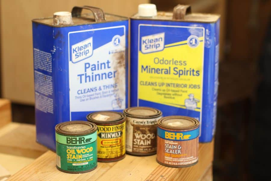 Paint thinner cans and wood stain products