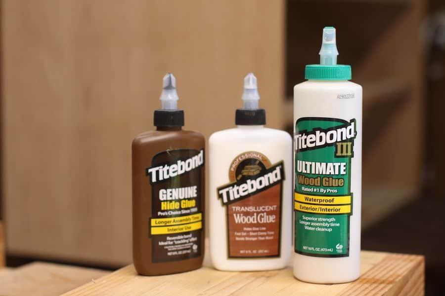 Three different kinds of wood glue
