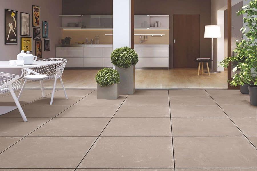 Tile flooring cleaned by bead blasting