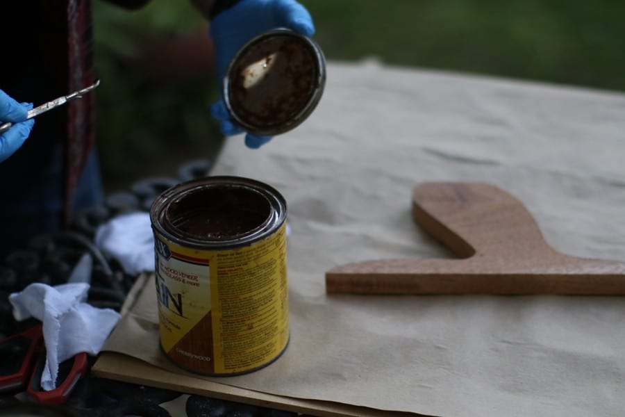 Newly opened can of gel stain